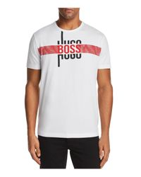 BOSS - White Green Logo Graphic Short Sleeve Tee for Men - Lyst