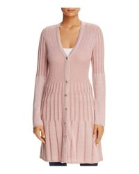 Foxcroft - Pink Ribbed Duster Cardigan - Lyst