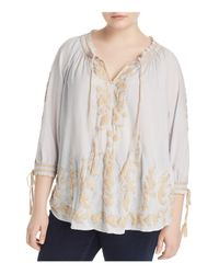 Lucky Brand Multicolor Embroidered Peasant Top
