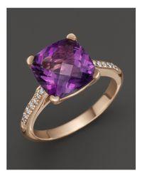 Lisa Nik - Purple 18k Rose Gold Amethyst And Diamond Ring - Lyst