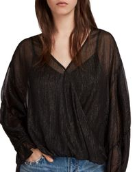 AllSaints - Black Hattie Metallic Striped Crossover Top - Lyst