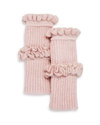 Rebecca Minkoff - Pink Ruffled Fingerless Gloves - Lyst