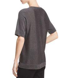 Eileen Fisher - Gray Lightweight Short-sleeve Sweater - Lyst
