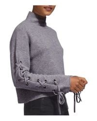 Whistles   Gray Lace-up Sleeve Sweater   Lyst