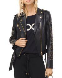 MICHAEL Michael Kors - Black Studded Leather Moto Jacket - Lyst