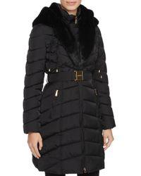 Laundry by Shelli Segal - Black Faux Fur Trim Belted Down Coat - Lyst