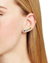 Rebecca Minkoff - Blue Triangle Climber Earrings - Lyst