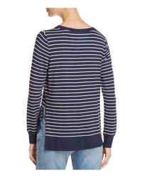 Marc New York - Blue Performance Striped High/low Sweatshirt - Lyst