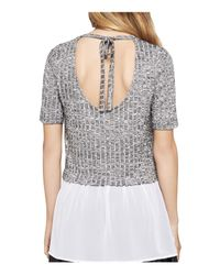 BCBGeneration - Black Mixed Media Layered-look Top - Lyst