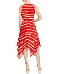 Donna Karan - Red New York Striped Handkerchief-hem Dress - Lyst