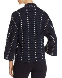 Emporio Armani - Blue Textured Contrast-detail Pleated Cardigan - Lyst