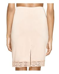 Hanky Panky | Pink Silky Lace Trim Fitted Half Slip | Lyst