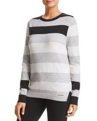 Donna Karan - Gray New York Striped Crewneck Sweater - Lyst