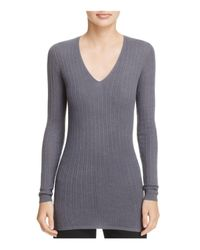 Vince | Gray Cashmere Ribbed V-neck Sweater | Lyst