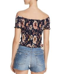 Aqua - Blue Smocked Floral Cropped Top - Lyst
