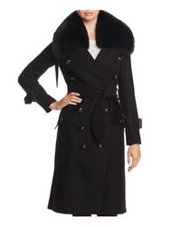 Burberry - Black Walgrave Fur-trim Belted Peacoat - Lyst
