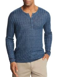 John Varvatos - Blue Ribbed Long Sleeve Henley for Men - Lyst