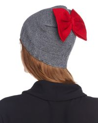 Helene Berman - Gray Knit Bow Beanie - Lyst