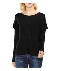 Vince Camuto - Black Ruffle Drop Shoulder Top - Lyst