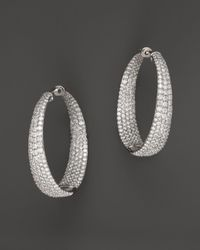 Roberto Coin - 18k White Gold Large Scalare Diamond Earrings - Lyst