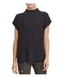 Ralph Lauren | Black Lauren Mock Neck Cable-knit Sweater | Lyst