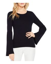 Vince Camuto - Black Ribbed Bell Sleeve Sweater - Lyst