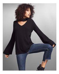 Aqua - Black Cashmere Peakneck Bell Sleeve Sweater - Lyst