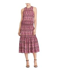 Ralph Lauren - Red Lauren Ikat Print Midi Dress - Lyst