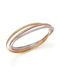 Roberto Coin - Multicolor 18k Gold Triple Interlock Diamond Bangle - Lyst