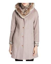 CALVIN KLEIN 205W39NYC - Multicolor Faux Fur Trim Mixed Media Coat - Lyst