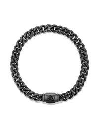 David Yurman - Petite Pavé Curb Link Bracelet With Black Diamonds - Lyst