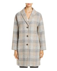 Eileen Fisher - Gray Check Print Wool Tweed Coat - Lyst