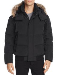 Marc New York - Black Cedar Fur-trimmed Hooded Bomber Jacket for Men - Lyst