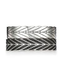 John Hardy - Metallic Sterling Silver Modern Chain Large Hinged Bangle With Black Sapphire - Lyst