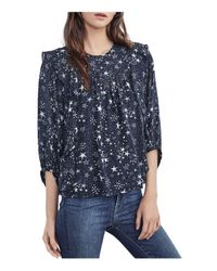 Velvet By Graham & Spencer - Blue Ann Ruffled Star Print Top - Lyst