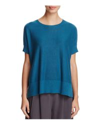 Eileen Fisher | Blue Short Sleeve A-line Sweater | Lyst