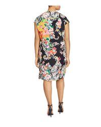 Ralph Lauren - Black Lauren Plus Printed Cap-sleeve Dress - Lyst