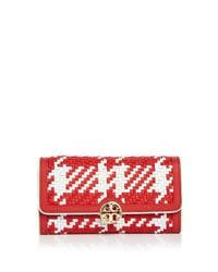 Tory Burch | Red Duet Woven Envelope Leather Wallet | Lyst