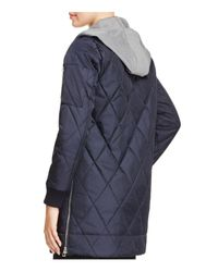 Vince Camuto - Blue Long Quilted Bomber Jacket - Lyst