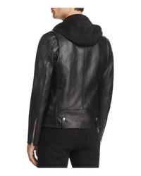 Mackage | Black Magnus Hooded Leather Motorcycle Jacket for Men | Lyst