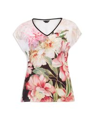 Ted Baker - Pink Ilenia Painted Posie V-neck Tee - Lyst