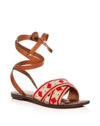 Sam Edelman - Red Luisa Beaded Ankle Wrap Sandals - Lyst