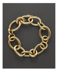 Roberto Coin | Metallic 18k Yellow Gold Alternating Shape Link Bracelet | Lyst