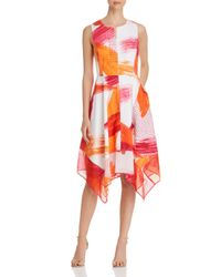 Donna Karan - Pink New York Abstract Handkerchief-hem Dress - Lyst