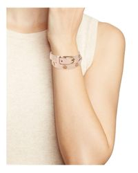 Tory Burch - Pink Double Wrap Logo Stud Bracelet - Lyst