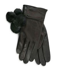 Ugg - Black Brita Shearling Pom-pom Tech Gloves - Lyst