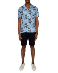 Ted Baker - Blue Bliss Tropical Pattern Regular Fit Button-down Shirt for Men - Lyst