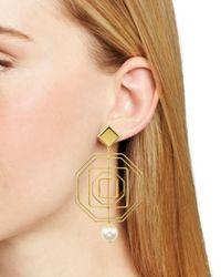 Tory Burch - Metallic Geometric Pearl Statement Earrings - Lyst