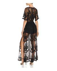 Aqua Black Embroidered-overlay Romper