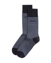 BOSS - Blue Combed Cotton Stripe Socks for Men - Lyst